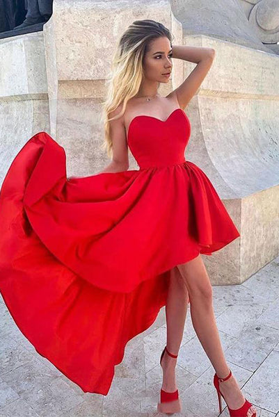 New Trend High Low Sweetheart Red Homecoming Dresses with Ruffles PDA123 | ballgownbridal