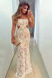 Mermaid Strapless Floor-Length Cut Out White Lace Sleeveless Prom Dress LR444