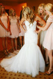 Mermaid Sweetheart Court Train Ivory Tulle Wedding Dress with Appliques AHC597