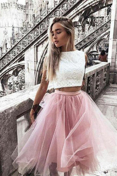 Two-Piece Bateau Knee Length Pink Homecoming Dresses With Lace PDA058 | ballgownbridal