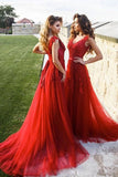 Burgundy Lace Tulle V Neck A Line Long Prom Dress PDA241 | ballgownbridal