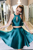Two Piece Jewel Open Back Satin Homecoming Dress with Bowknot PDA015 | ballgownbridal