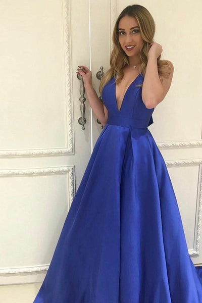 A-Line Deep V-Neck Floor-Length Royal Blue Bowknot Prom Dress PDA472 | ballgownbridal