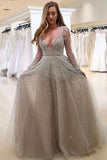 A-Line Deep V-Neck Long Sleeves Grey Tulle Prom Dress with Beading AHC533 | ballgownbridal