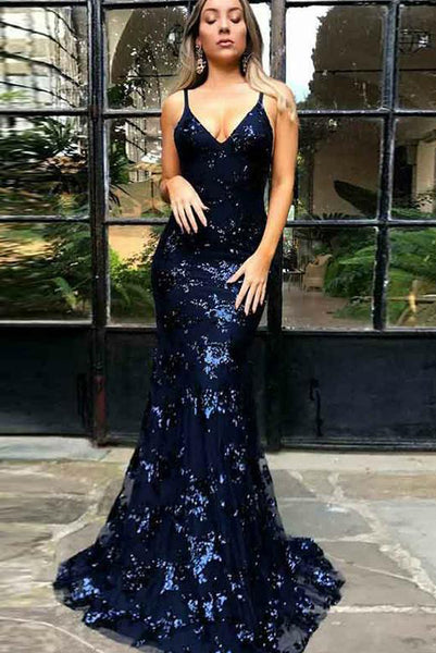 Mermaid Navy Blue Tulle Long Prom Dresses Evening Dresses with Backless PDA232 | ballgownbridal