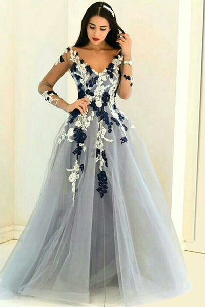 A-Line V-Neck Long Sleeves Grey Tulle Prom Dress with Appliques PDA463 | ballgownbridal