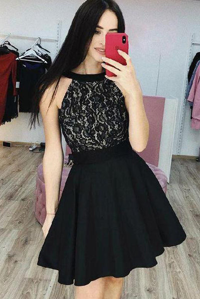 Stylish A Line Jewel Black Short Homecoming Dresses with Appliques PDA094