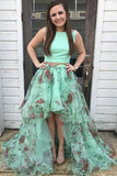 Two Piece Bateau Sweep Train High Low Green Printed Tulle Ruffles Prom Dress LR400