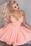 A-Line Spaghetti Straps Short Tiered Pink Homecoming Cocktail Dress PDA081 | ballgownbridal