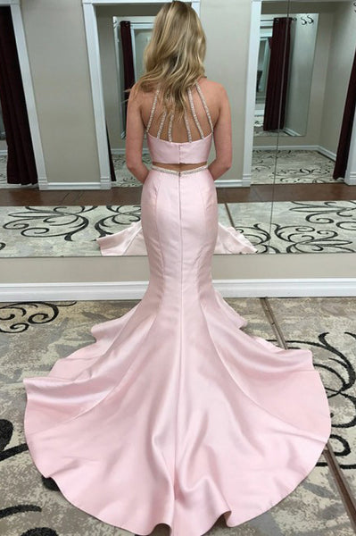 Two Piece Mermaid Jewel Open Back Sweep Train Pink Prom Dress with Beading PDA320 | ballgownbridal