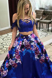 Two Piece Spaghetti Straps Sweep Train Royal Blue Printed Satin Prom Dress with Lace LR119
