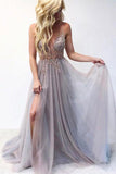 Beautiful A Line V Neck Gray Tulle Long Prom Evening Dresses with Appliques PDA011 | ballgownbridal