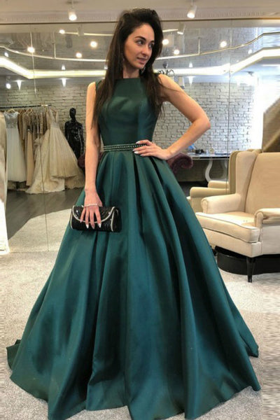 A-Line Bateau Backless Sweep Train Dark Green Prom Dress with Beading PDA343 | ballgownbridal