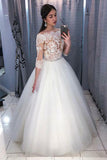 Ball Gown White Wedding Dresses Off the Shoulder 3/4 Sleeves Lace PDA168 | ballgownbridal