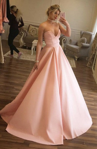 A-Line Sweetheart Sweep Train Pink Satin Sleeveless Prom Dress with Pleats LR215