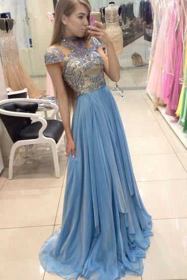 A-Line Jewel Sweep Train Cap Sleeves Blue Organza Prom Dress with Beading AHC673 | ballgownbridal