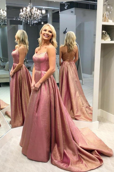 A-Line Spaghetti Straps Backless Sweep Train Rose Pink Split Prom Dress PDA341 | ballgownbridal