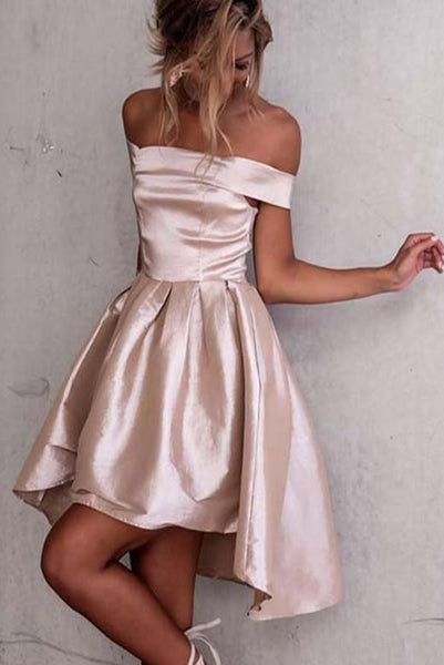 A-Line High Low Off Shoulder Light Champagne Homecoming Dresses PDA061 | ballgownbridal