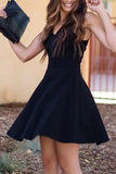 A-Line V-Neck Satin Little Black Semi Formal Party Dress PDA183 | ballgownbridal