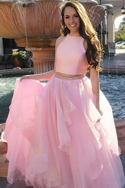 Two Piece Jewel Sweep Train Pink Chiffon Prom Dress with Beading Ruffles LR331