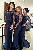 Mermaid Off-the-Shoulder Sweep Train Navy Blue Satin Bridesmaid Dress with Lace AHC612