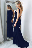 Mermaid Bateau Sweep Train Navy Blue Satin Sleeveless Backless Prom Dress LR322