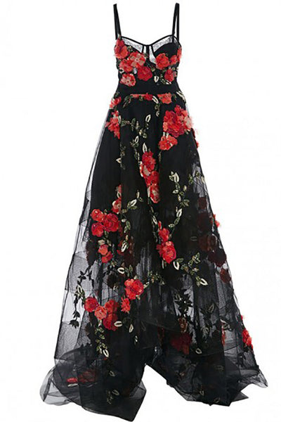 A-Line Spaghetti Straps High Low Court Train Black Tulle Prom Dress with Appliques LR277