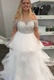A-Line Off-the-Shoulder Sweep Train White Tulle Prom Dress with Beading Ruffles LR166