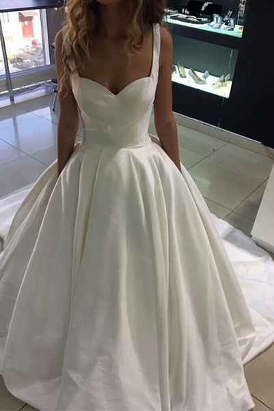 Simple A Line Sweetheart White Long Wedding Party Dresses Sweep Train PDA153 | ballgownbridal