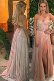 A-Line V-Neck Sweep Train Open Back Split-Side Pink Tulle Prom Dress with Appliques  AHC656