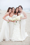 A-Line Sweetheart Sweep Train White Chiffon Sleeveless Bridesmaid Dress AHC640