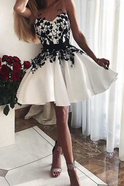 Sweetheart White Short Homecoming Dresses 2019 with Appliques PDA057 | ballgownbridal