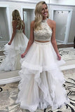 Two Piece High Neck Sweep Train White Tulle Open Back Prom Dress with Beading Ruffles LR334