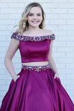 Two Piece Off-the-Shoulder Sweep Train Grape Satin Prom Dress with Beading Pockets LR189