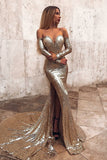 Mermaid Off-the-Shoulder Long Split Prom Dress Gold Sequined Evening Dress with Sleeves PDA410 | ballgownbridal