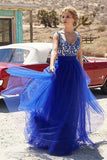 A-Line Deep V-Neck Sweep Train Royal Blue Tulle Prom Dress with Appliques Ruffles LR315