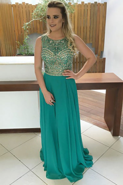 A-Line Jewel Sweep Train Green Chiffon Open Back Prom Dress with Beading LR454