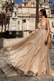 Spaghetti Straps Backless Prom Dress with Sequins Light Champagne Long Evening Dress ODA012 | ballgownbridal