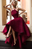Burgundy A Line Asymmetrical Halter Sleeveless Long Prom Dress AHC554