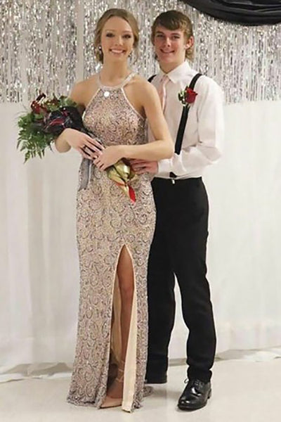 Mermaid Crew Floor-Length Champagne Sequined Sleeveless Split Prom Dress LR85