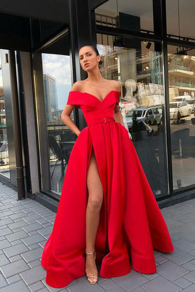 A Line Off the Shoulder Red Satin Long Prom Evening Dresses with Split Front PDA012 | ballgownbridal