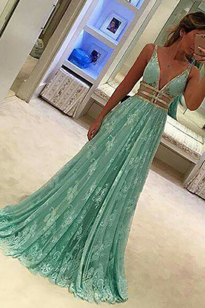 A-Line Deep V-Neck Sweep Train Green Lace Backless Prom Dress with Sequins LR448
