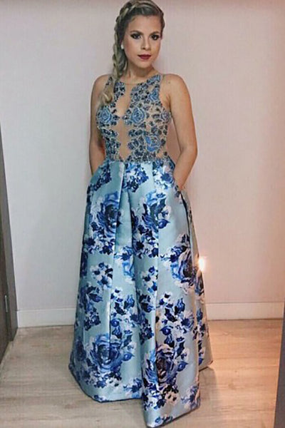 A-Line Jewel Floor-Length Blue Printed Satin Prom Dress with Beading Pockets LR477 | ballgownbridal