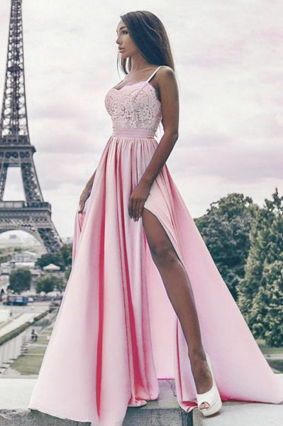 A-Line Spaghetti Straps Floor-Length Pink Prom Dress with Lace PDA306 | ballgownbridal