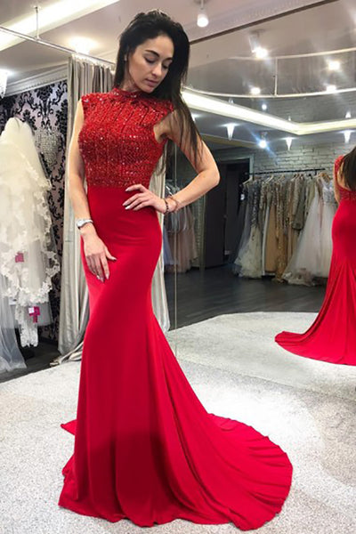 Mermaid High Neck Open Back Sweep Train Red Prom Dress with Beading LR33