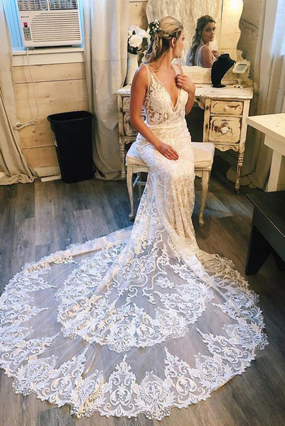 Charming Mermaid V Neck White Wedding Dresses with Sweep Train PDA028 | ballgownbridal