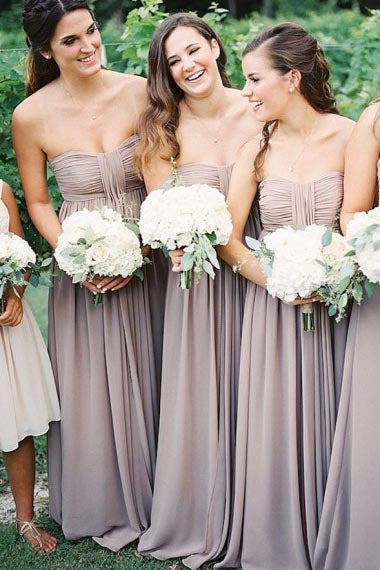 A-Line Strapless Floor-Length Grey Chiffon Bridesmaid Dress with Ruched AHC616 | ballgownbridal