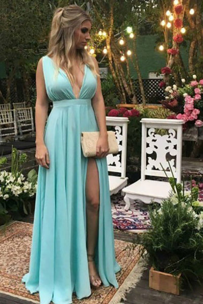 A-Line Deep V-Neck Floor-Length Blue High Split Backless Prom Dress LR416
