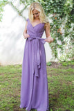 A-Line V-Neck Cap Sleeves Lace-Up Purple Long Chiffon Bridesmaid Dress AHC648 | ballgownbridal