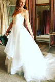 Simple Spaghetti Straps White Wedding Dresses Ruffles Sweep Train PDA164 | ballgownbridal
